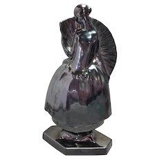 """Art Deco J Cormier Parasol Lady Figure Ceramic 11"""" Signed"""