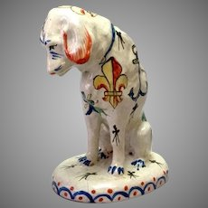 "Faience Dog Figure Pottery France 5 3/4"""