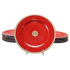 "12 Medaillon d'Or Rust Dinner Plates 10 3/8"" Fitz and Floyd"