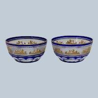 Pair Beaudoin Blue by Val St Lambert Cut To Clear Dessert Bowls