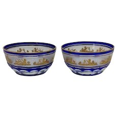 Pair Beaudoin Blue by Val St Lambert Cut To Clear Dessert Bowls