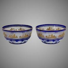 Pair Beaudoin Blue by ValL St Lambert Cut To Clear Dessert Bowls