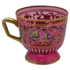 Moser Bohemian Enameled Cranberry Glass Cup Signed