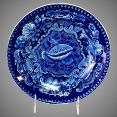 Cowrie Shell Plate Joseph Stubbs Historical Staffordshire Blue Circa 1825