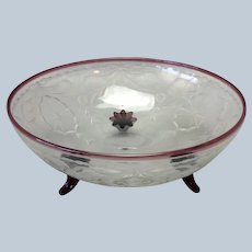 Cranberry Glass Footed Engraved Floral Bowl
