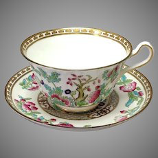 "Indian Tree Breakfast Cup and Saucer 5"" Harrods Ltd Bridgwood"