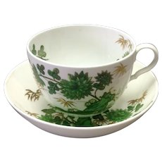 Green Floral Breakfast Cup Spode 19th c.