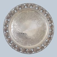 English Grapes Salver Silverplate Footed 12.5""