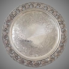 """English Grapes Salver Silverplate Footed 12.5"""""""