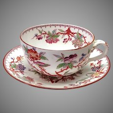 Birds and Berries Breakfast Cup Sarreguemines, France 19th c