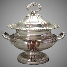 """Large Antique Sheffield Covered Tureen 14"""""""