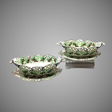 Pair Green Spode Pearlware Chestnut Baskets with Stands Circa 1800