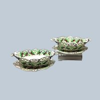 Pair Pearlware Chestnut Baskets with Stands Green Grapes Spode Circa 1800