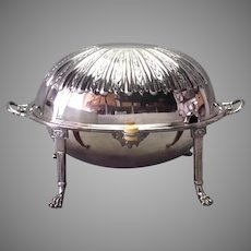 Roll Over Entree Dish Victorian Silverplate