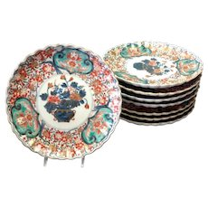 Group 6 Imari Plates Unusual Green 8 1/4""