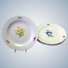 "Set of 4 Meissen Floral 8 1/2"" Plates 1920's"