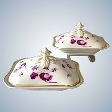 Pair Flight, Barr, and Barr Covered Entree Dishes Puce Flowers