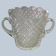 Cut Glass Ice Bucket American Brilliant Handled Antique