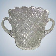 Cut Glass Ice Bucket American Brilliant Handled Antique