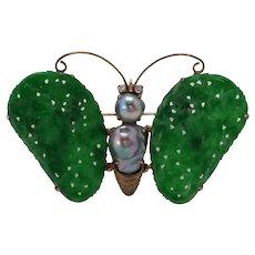 Jade Butterfly Pin Blue Baroque Pearl Diamond 14k