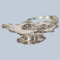 """Whiting Cake Basket Openwork 33 Ounces Sterling Antique 13"""""""