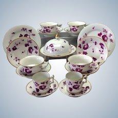 Group Puce Worcester Flight Barr Barr Porcelain 19 Pieces