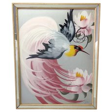 Bird of Paradise Signed Painting Mid-Century Mirrored Frame