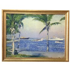 South Florida Boats Palm Trees Oil Painting