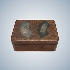 Japanese Woven Box with Silver Fan Top 19th c