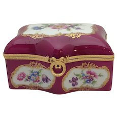 Limoges Floral Box Gilt Mounts Puce 1950's