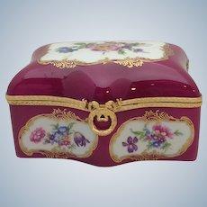 Limoges Floral Box Gilt Mounts Puce 1950's