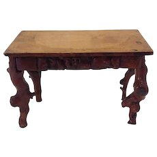 """Miniature Gothic Carved Wood Faces Table 8"""""""