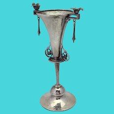 """Gorham Sterling Figural Bird Bud 5 1/2"""" Vase with Dangles 1869"""