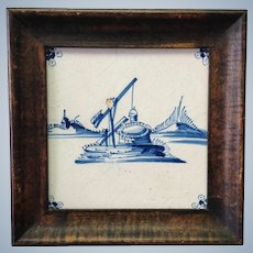 Delft Tile of Well Framed 18th c.
