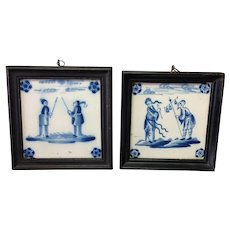 Pair of Delft Tiles Chinoiserie 18th c. Blue and White Framed