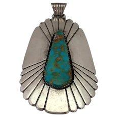 "Les Baker Turquoise Pendant Native American 2 3/4"""