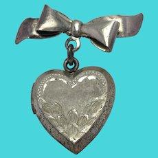 Heart Locket Pin Sterling