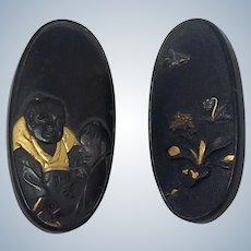 "Pair Shakudo Buttons Meiji Period  1 1/4"" Long"