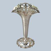 "Art Nouveau Vase Frank Smith Sterling 8"""