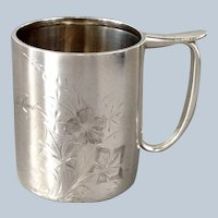 Sterling Child's Mug Circa 1900 Engraved Flowers
