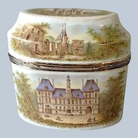 Enamel Scenic Tea Caddy Paris City Hall and Temple Church