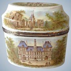 Enamel Scenic Tea Caddy Paris City Hall and Temple Church
