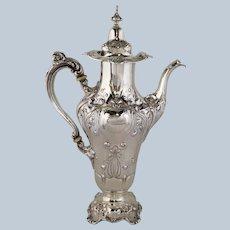 "Art Nouveau Coffee Pot Reed & Barton 12""  Sterling 1890"