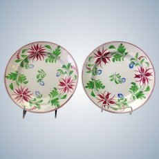 Pair Stick Spatter Plates W. Adams and Sons 1820's Floral