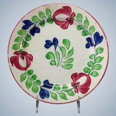 """Stick Spatter Floral 9"""" Plate W. Adams and Sons"""