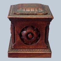 Tobacco  Box Carved Wood 1900 Box