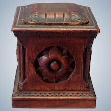 Tobacco  Box Carved Wood 1900 Box