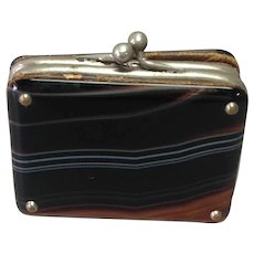 Agate Suitcase Change Purse Victorian Miniature
