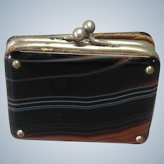 Agate Suitcase Change Purse Victorian Miniature