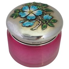 Dresser Jar Enameled Sterling Floral Top Rubina Threaded Glass